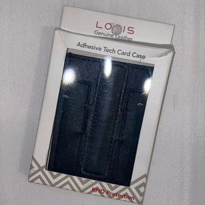 Lodis Adhesive Tech Card Case Black Gen Leather